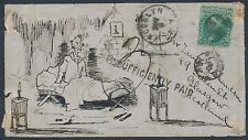 #68 ON COVER FRONT NY-GLASCOW SCOTLAND W/ INSUFF. PAID HAND ILLUS. BR3047