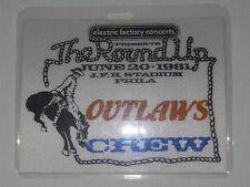 Outlaws - 1981 laminate crew pass The RoundUp JFK Stadium Philadelphia