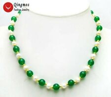 "6-7mm Natural White FW Pearl Necklace for Women with 8mm Green Jade 18"" Chokers"