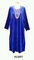 15097 Ladies' knitted  Velvet multi  colour embroidery floral long kaftan (M)