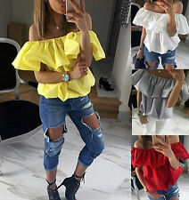 Women Off The Shoulder Frill Ruffle Gypsy Shirred Casual Tops Shirt Blouse TY
