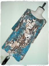 Suzie In The City Bohemian Leopard Print Paisley Chain Cold Shoulder Blouse 2X
