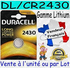 Piles boutons CR2430 DURACELL - Vente aussi : CR2032 CR2025 CR2016 CR1620 CR2450