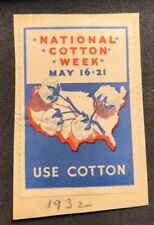Poster Stamp National Cotton Week Use Cotton 1932 Lot Us202