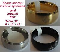 BAGUE ANNEAU EN ACIER FRANC-MAÇONNERIE franc-maçon maçonnique masonic ring