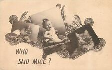 Fancy Sepia Art Nouveau~Inquisitive Cats Looking at Crying Baby~Who Said Mice?