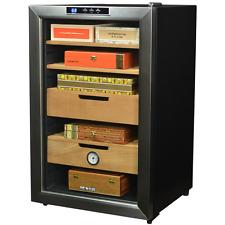 400-Cigar Countertop Cooler Stainless Steel Humidor Cedar Storage Humidifier