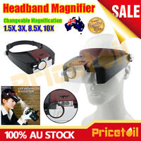 OZ Watch Repair Jewellers Head Headband Magnifier Glasses Loupe With LED Light