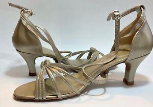 "DiMichi Tanya Women Ballroom Dance Shoes Suede Sole 2.5"" Heel Size 9.5 Pearl NIB"