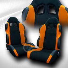 UNIVERSAL TS BLACK/ORANGE CLOTH LEATHER RACING BUCKET SEATS W/SLIDERS PAIR  C01