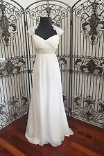6 EDEN SILVER LABEL SL083 SZ 12 IVORY LACE BEADED CHIFFON WEDDING GOWN DRESS