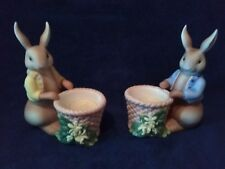 Partylite Bertie & Bea Bunny Rabbits Candle Holders ~ Easter Centerpiece Candles