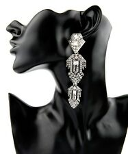 Gorgeous White Crystal Art Deco Chandelier Vintage Inspired Statement Earrings