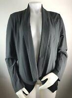 Eileen Fisher Women's Large Color Block Blazer Jacket Open Gray Black Viscose