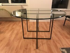Gorgeous New 5' Round Glass Table Adjustable Feet