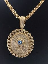 Gold Over .925 Sterling Silver Hamsa Evil Eye Necklace With 20 Inch Lovely Chain