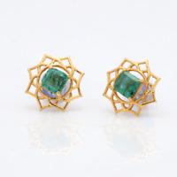 14 Karat Gold natürlich Smaragd Edelstein Nieten Weihnachten Geschenk