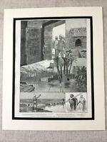 1887 Print British Explorer Egypt Faiyum Egyptian Antique Original