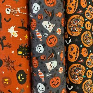 100% Cotton Halloween Prints, Pumpkins, Ghosts, Spiders 140cm Wide