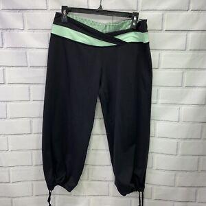 Lululemon Size 10 Leggings Black Pants Green Capri Lounge A7