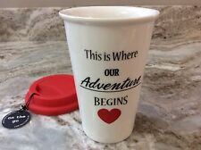 Durable Porcelain Travel Mug. This Is Where Our Adventure Begins. White, Red New