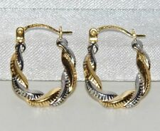 UK HALLMARKED 9CT YELLOW & WHITE GOLD FANCY ROPE CREOLE HOOP EARRINGS -
