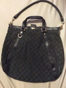 Preowned GUCCI Black/Green Monogram Canvas w. Leather Trims Hobo Shoulder Bag