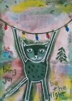Cat Christmas ACEO original acrylic painting miniature, outsider art