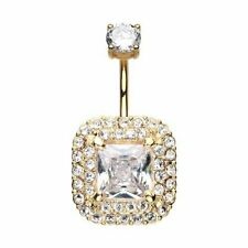 Golden Princess Magnificent Sparkle 316L Surgical Steel Belly Button Ring