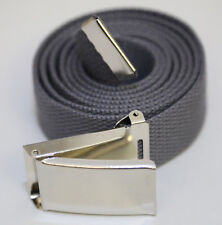 "NEW FLIPTOP ADJUSTBLE 92"" INCH STEEL GREY MILITARY WEB CANVAS CHROME BELT BUCKLE"
