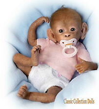 "Ashton Drake ""COCO""- LIFELIKE 16"" BABY MONKEY DOLL- WITH PACI AND NAPPY - NEW"