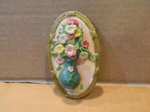 Hubley Mixed Flowers In Vase Oval Door Knocker Vivid Colors 1920's
