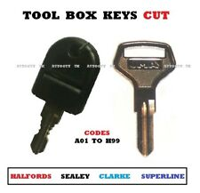 CLARKE / SEALEY TOOL BOX & TOOL CHEST KEYS CUT TO CODE  A01 To A99 ** FREEPOST**