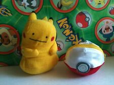 Pokemon Plush Ditto Pikachu Reversible Soft Pokeball doll go figure zipper toy