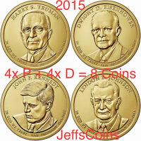 2015 P D Presidential Dollar 8 Coin Set Truman Eisenhower Kennedy LBJ PD DE1 All