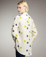 $298 Equipment Femme Natural Daddy Dot Polka Silk Button Up Blouse Dress Shirt S