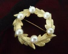 14K Gold Vintage Brooch CIRCLE Round Pin 6 AKOYA PEARLS