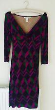 DIANE VON FURSTENBERG femme noir, vert & violet robe soie taille UK8/us 6