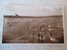 "VINTAGE RP POSTCARD, "" THE BEACH LOOKING SOUTH, AYRSHIRE ""."