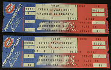 1982 MONTREAL CANADIENS vs VANCOUVER CANUCKS MONTREAL FORUM COMPLETE TICKET (2)