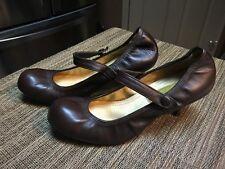 Lanvin - Brown Leather  Lamb Heel Ballerina Mary Jane Pumps Size 37/7