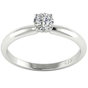 0.50Ct Round Cut Diamond Solitaire Anniversary Ring 14K White Yellow Gold 4.60MM
