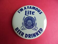 New listing Cool Vintage I'm a Famous Lite Beer Drinker Miller Advertising Campaign Pinback