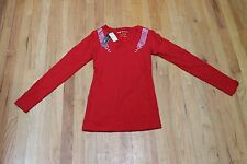 PICKY BOO WOMEN'S RED LONG SLEEVE TEE SHIRT STUDDED KNIT TOP JR. SIZE LARGE NWT