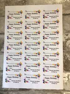 Personalised Happy Birthday Labels 21 Sticky Labels Per Sheet Birthday Gift Tag
