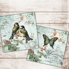 Set of 2 Shabby Chic Vintage Wall Art Print Plaques Birds Butterfly Text