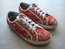 Geox Valemour Canvas Red White Floral Marble Effect Sneakers Laced UK 3.5 EU 36