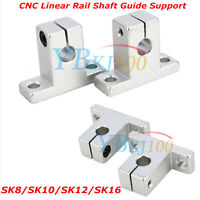 Durable 2Pcs SK8/10/12/16 Bearing CNC Aluminum Linear Rail Shaft Guide Support