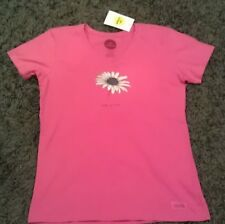 Life Is Good Beautiful Daisy Crusher V-Neck Short Sleeved T-Shirt Top Womens S