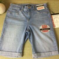 """D. JEANS Women's Light""""Grace""""Denim Cotton Blend High Waist Bermuda Shorts-Size 8"""